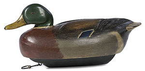 Ben Schmidt of Detroit carved this 17-inch-long mallard drake decoy circa 1925-1950. Image courtesy LiveAuctioneers.com Archive and Cowan's Auctions Inc.