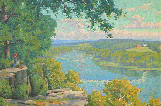 Jex, Garnet W., (American, 1895-1979): 'View of the Potomac from Terrapin Neck, Shepardstown, West Virginia,' O/C. Image courtesy LiveAuctioneers.com Archive and Burchard Galleries Inc.