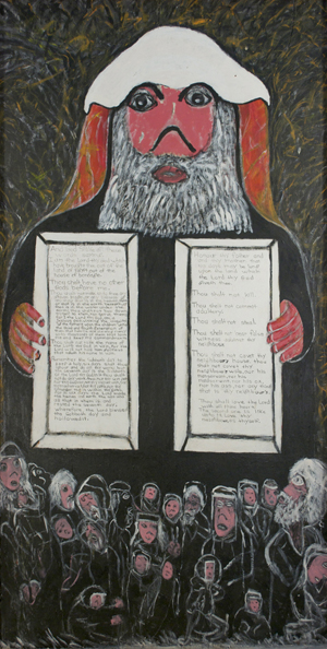 The The Rev. Albert Wagner (1924 - 2006) 'Moses and the Ten Commandments,' mixed media including acrylic paint, ink, oil stick, and graphite. Gray's Auctioneers image.
