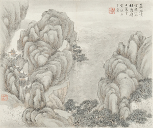 Painting album, one of eight pages, China, ink and color on paper, attributed to Wang Hui (1632-1717), each depicting a landscape, bears signature, 14 1/2 x 12 inches. Estimate: $100,000-$150,000. Skinner Inc. image.