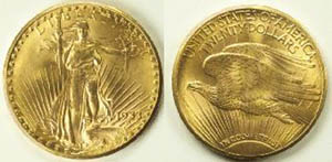 Obverse and reverse views of 1933 double eagle $20 gold coin. United States Secret Service image.