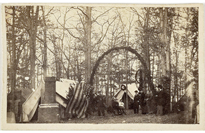 Headquarters of the Sanitary Commission at Gettsyburg, 1863, which includes an operating tent and an embalming tent. Image courtesy LiveAuctioneers.com Archive and Cowan's Auctions Inc.