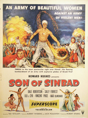 Zamparelli designed posters for movies produced by Howard Hughes, including 'Son of Sinbad' in 1955. Image courtesy LiveAuctioneers.com Archives and The Last Moving Picture Co.
