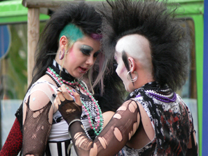 Punk fashion of the 1970s has endured for more than three decades, as seen in this photo of two Goths at the Wave Gotik Treffen in Leipzig, Germany, May 26, 2007. Photo by Grant Mitchell, licensed under the Creative Commons Attribution 2.0 Generic license.