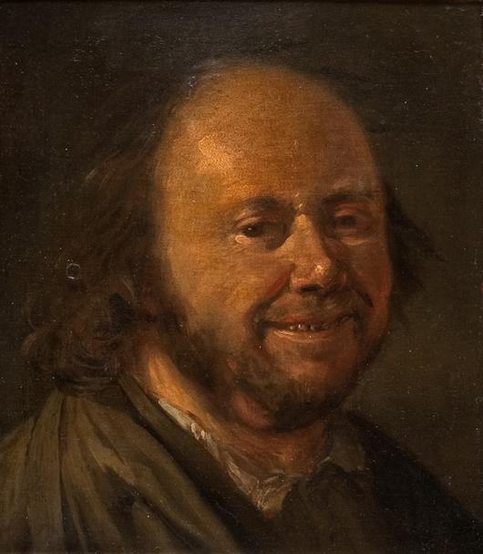 Portrait of a smiling elderly man attributed to Frans Hals the Elder (1580-1666), oil on canvas, in an ornate old frame. Auktionshaus Gut Bernstorf image.