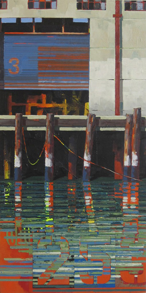 Top lot in the Art for AIDS 2012 auction was 'Pier Module #16,' a collage, acrylic and oil on wood by Catherine Mackey, which sold for $3,600. Proceeds from the event will support HIV/AIDS services at UCSF Alliance Health Project. Photo courtesy of Art for AIDS.
