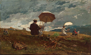 Winslow Homer (American, 1836-1910), 'Artists Sketching in the White Mountains,' 1868, oil on panel, Portland Museum of Art, Portland, Maine.