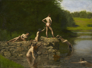 'Swimming,' 1885, Thomas Eakins (1844–1916), oil on canvas, overall: 27 3/8 x 36 3/8 inches. Amon Carter Museum, Fort Worth, Texas.