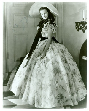 Signed publicity photo of Vivien Leigh in the role of Scarlett O'Hara in the 1939 film 'Gone with the Wind.' Image courtesy of LiveAuctioneers.com Archive and Signature House.