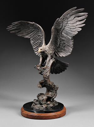 Steve Retzlaff (American, 20th/21st century), 'Freedom,' cast .999 silver, on marble and walnut base, total height 34 inches. Estimate: $8,000-$12,000. Skinner Inc. image.