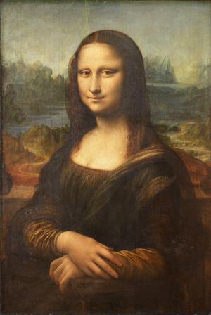 Leonardo da Vinci (Italian, 1452-1519), 'Mona Lisa,' painted circa 1503-1506. Permanent collection of The Louvre, Paris.