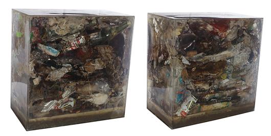 Arman (1928-2005), 'Frozen Garbage # (Civilitazion) 1971,' plastic and objects, 46x46x25,50 cm. Provenience: Lawrence Rubin, 49 W. 57th St., New York, NY 10019; Galleria il Fauno Due, Torino. Estimate: €90.000-120.000. Starting price: €60.000. Courtesy San Carlo Aste.