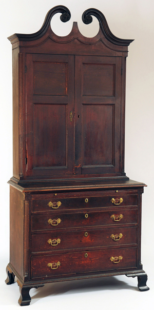 An important Shenandoah Valley, Va., bookcase on bureau in original surface leads the furniture offerings. It carries an estimate of $75,000-$100,000. Case Antiques Auction image.