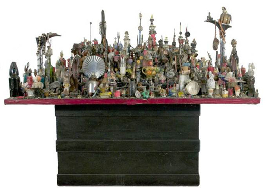 The Rev. Albert Wagner (1924 - 2006), 'City Beneath the Sea,' assembled sculpture composed of found objects on a tabletop. Gray's Auctioneers image.