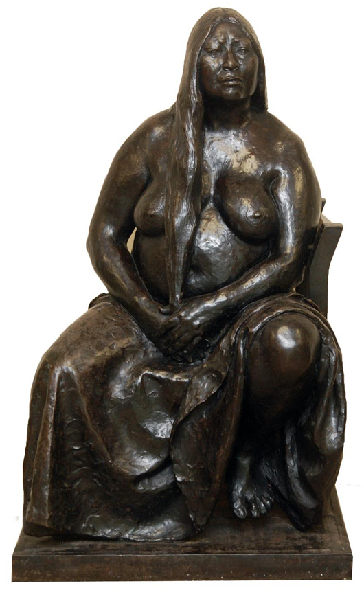Bronze figure by Francisco Zuniga (1912-1998), depicting a female seated on a chair. Estimate: $200,000-$250,000. Elite Decorative Arts image.