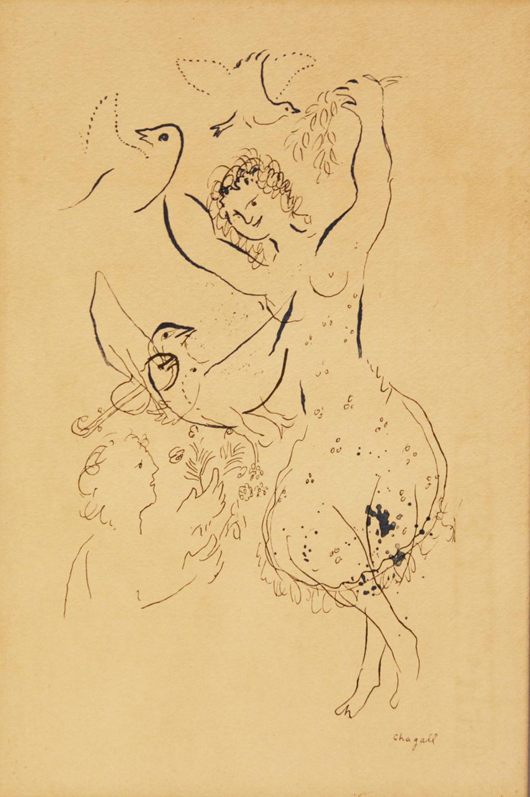 Ink on paper depiction of dancers and doves by Marc Chagall. Estimate: $20,000-$30,000. Elite Decorative Arts image.