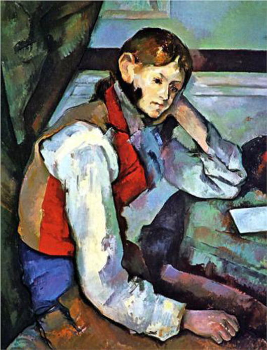 Paul Cezanne, 'The Boy in the Red Vest,' 1889. Image courtesy Wikipaintings.org.