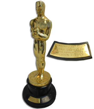 The 'Best Actress' Oscar awarded to Joan Crawford for her lead role in the 1945 film 'Mildred Pierce' was auctioned for $426,732 at Nate D. Sanders' Sept. 25 auction in Los Angeles. Image courtesy of Nate D. Sanders.