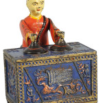 Kyser & Rex 'Mikado' cast-iron mechanical bank, rare blue variation, top lot of the sale, $198,000. Morphy Auctions image.