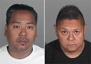 Wilmer Bolosan Cadiz (left) and Jay Jeffrey Nieto, suspects in a Santa Monica, Calif., residential theft of art and other valuables worth around $10 million. Composite of two booking photos provided to Auction Central News by the Santa Monica Police Department.