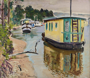 Houseboats, Balloch (1931) by George Leslie Hunter, oil on canvas. Image courtesy of a private collection and The Fleming Collection.