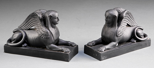 A pair of Wedgwood sphinxes in the firm's black basalt ware brought $4,780. Courtesy Neal Auction Co.