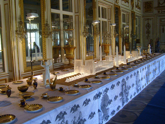 Sevres produced two elaborate porcelain services decorated with views of ancient monuments recorded during Napoleon's 1798-1801 expedition to Egypt. One service, enhanced by a centerpiece of bisque architectural constructions, was given to Czar Alexander I and can be seen at the Kuskovo Palace Museum of Ceramics in Russia.
