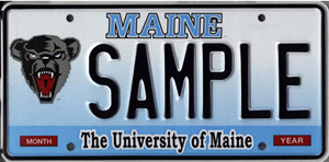 The Maine Crafts Association hopes a special license plate for arts and crafts can help generate funds for scholarships, similarly to the way in which the University of Maine black bear plate does. Photo credit: Maine Bureau of Motor Vehicles.