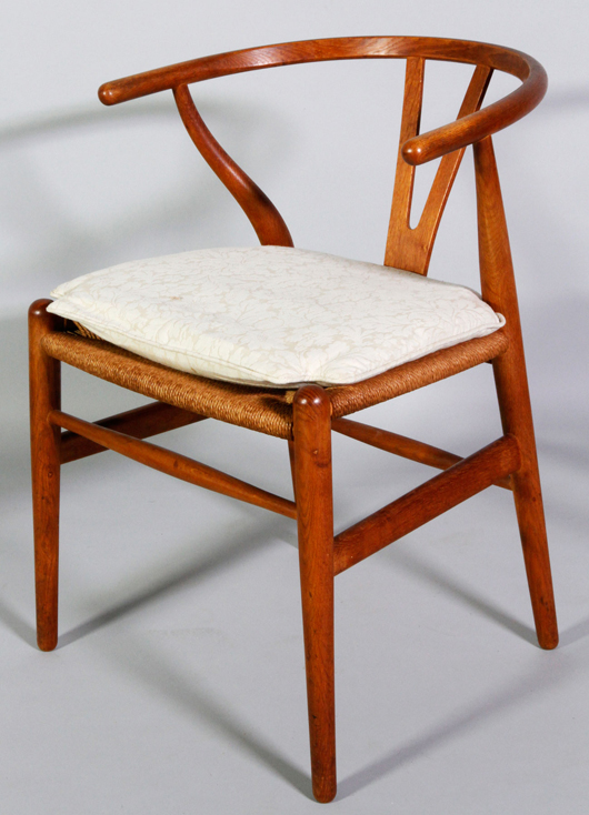 One Of 12 Danish Modern Wishbone Armchairs By Hans Wegner, Early 1960s.  Kaminski Auctions