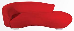 Vladimir Kagan upholstered serpentine sofa, 95 inches wide. Estimate: $10,000-$15,000. Kaminski Auctions image.