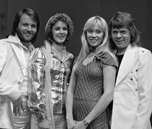 April 1974 photo of ABBA (from left: Benny Andersson, Anni-Frid Lyngstad, Agnetha Faltskog, Bjorn Ulvaeus) during their appearance on the Dutch television show AVRO's TopPop. Images from Beeld en Geluidwiki are available under the cc-by-sa license. Creative Commons Attribution-Share Alike 3.0 Unported license.