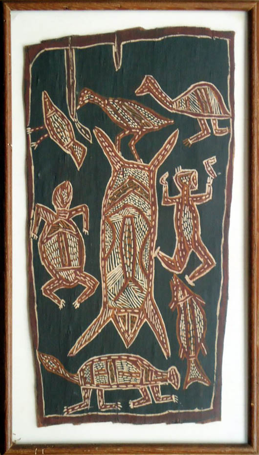 Aboriginal bark painting. Image courtesy of LiveAuctioneers.com Archive and Fletcher Gallery.
