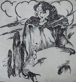 Howard Pyle, Fairy Tale, Sleeping Giant and a Boy Sounding a Horn, ink on paper with traces of gouache, signed with P monogram and titled at lower left corner. Hess Fine Auctions image.