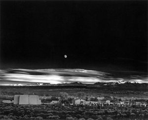 Ansel Adams (American, 1902-1984), 'Moonrise, Hernandez, New Mexico,' 1941. Fair use of low-resolution digitization of a unique, historic, copyrighted image used to accompany an article specifically concerning the Ansel Adams photograph. Obtained through Wikipedia,