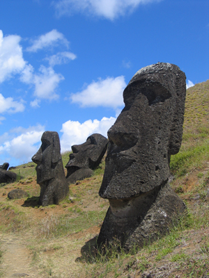 Mysterious statues on Easter Island, Rapa Nui National Park, a UNESCO World Heritage site. Photo by Aurbina.