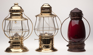 Sample of Sullivan collection of railroad lanterns (Oct. 19). Jeffrey S. Evans & Associates image.
