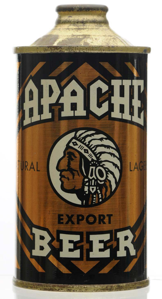 Apache Export Beer low-profile cone-top beer can, possibly the best of all known examples, $28,800. Morphy Auctions image.