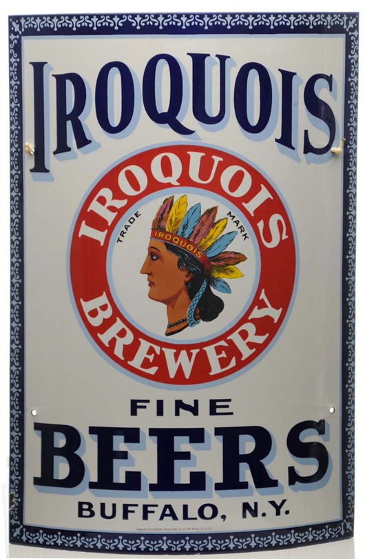 Iroquois Brewery (Buffalo, N.Y.) porcelain corner sign, $31,200. Morphy Auctions image.