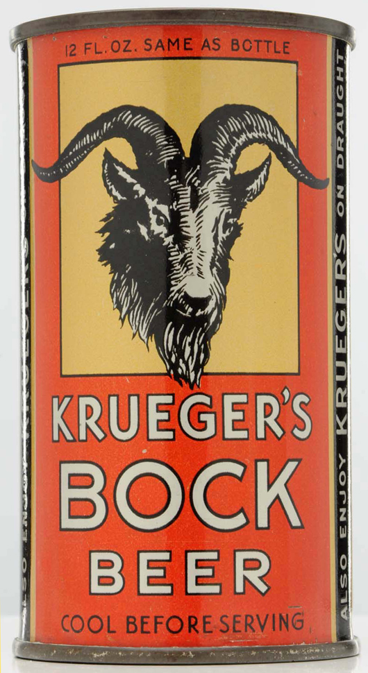 """Krueger's Bock """"instructional"""" beer can, $19,200. Morphy Auctions image."""