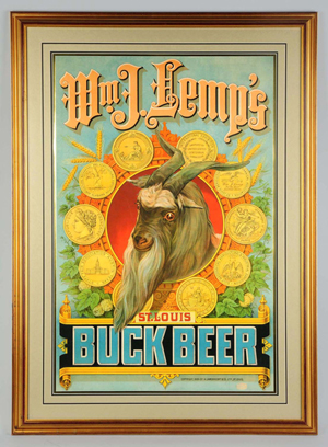 1886 lithograph advertising Wm. J. Lemp's St. Louis Buck Beer, probably one of a kind, $21,600. Morphy Auctions image.