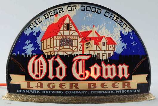 Reverse-on-glass demilune sign made by Gillco for Denmark Brewing Company's Old Town Lager Beer, $6,000. Morphy Auctions image.