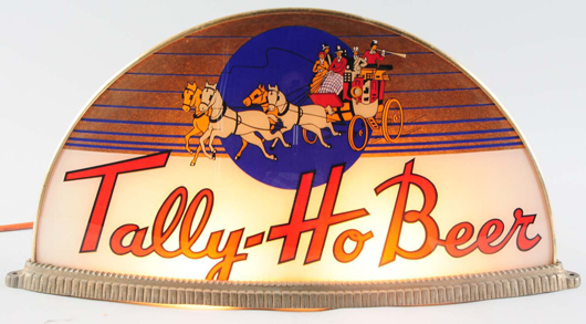 Tally Ho Beer illuminating sign manufactured by Gillco (Philadelphia), one of a kind, $18,000. Morphy Auctions image.