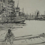 James A.M. Whistler (American, 1834-1903), 'Eagle Wharf,' etching, est. $1,400-$1,600. Auctions Neapolitan image.
