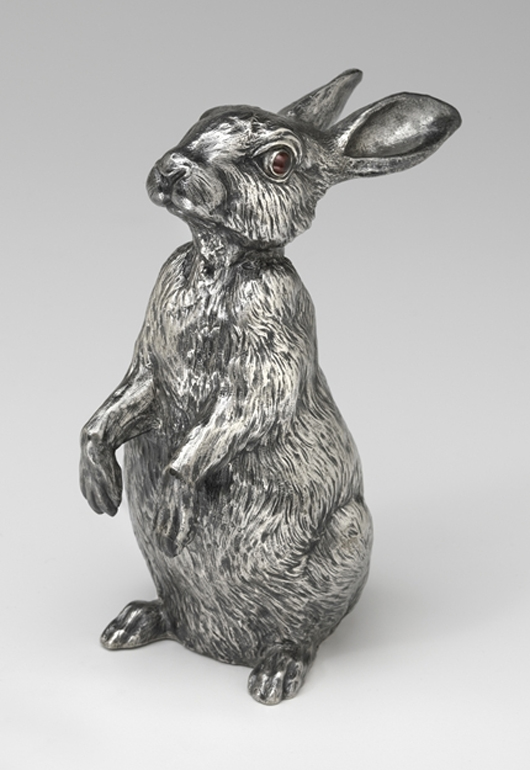 House of Fabergé, Rabbit Bell Push, 1908–17, silver, ruby. Virginia Museum of Fine Arts, Richmond. Bequest of Lillian Thomas Pratt (photo: Travis Fullerton. © Virginia Museum of Fine Arts)