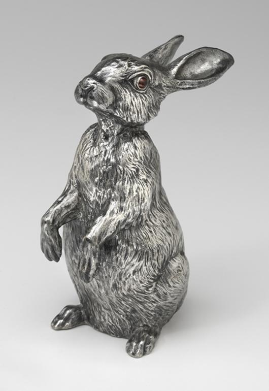 House of Fabergé, Rabbit Bell Push, 1908–17, silver, ruby. Virginia Museum of Fine Arts, Richmond. Bequest of Lillian Thomas Pratt (photo: Travis Fullerton. © Virginia Museum of Fine Arts)