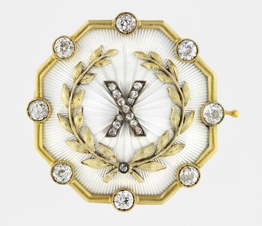 House of Fabergé, Fedor Afanas'ev, workmaster, Tenth-Anniversary Brooch, 1899–1908, gold, enamel, diamond. Virginia Museum of Fine Arts, Richmond. Bequest of Lillian Thomas Pratt (photo: Travis Fullerton. © Virginia Museum of Fine Arts)