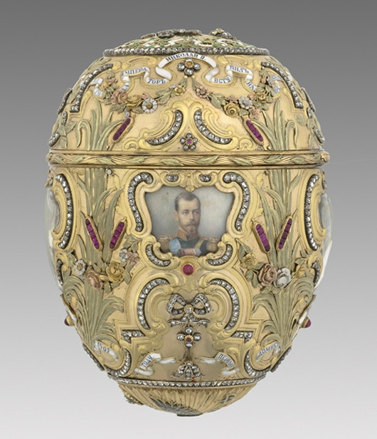 House of Fabergé, Mikhail Perkhin, workmaster, Imperial Peter the Great Easter Egg, 1903, gold, platinum, diamond, ruby, enamel, bronze, sapphire, watercolor, ivory, rock crystal. Virginia Museum of Fine Arts, Richmond. Bequest of Lillian Thomas Pratt (photo: Katherine Wetzel. © Virginia Museum of Fine Arts)