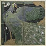 The University City four-part tile panel by Frederick H. Rhead sold for $637,500. Rago Arts and Auction Center image.