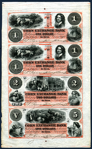 Corn Exchange Bank, 1860 uncut partially issued obsolete sheet. Archives International Auctions image.