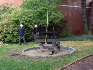 English sculptor Anthony Caro's steel sculpture titled 'Moment' is installed at the Portland Museum of Art's Joan B. Sculpture Garden in Portland, Maine. Image courtesy of the Portland Museum of Art.
